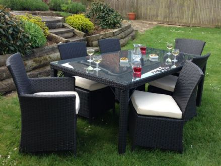 6 Seater Marco Phillippe Black Rattan Dining Table Set